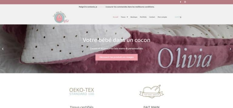 Aperçu du site Internet de Cocon bébé by Val