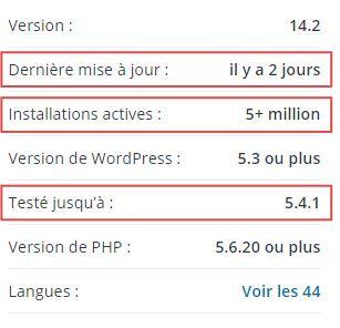 Extension WordPress - infos générales de l'éditeur