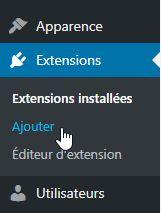 """Sous menu """"Ajouter"""" du menu """"Extensions"""""""