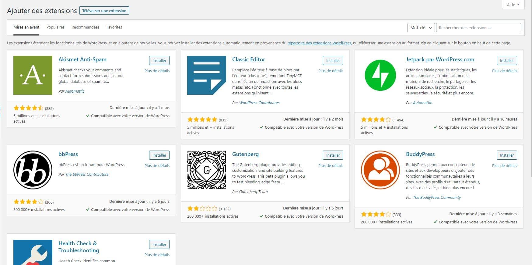 Page d'ajout d'extensions WordPress