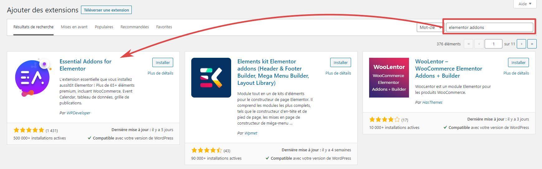 Page d'ajout d'extensions WordPress - zone de recherche - extension trouvée