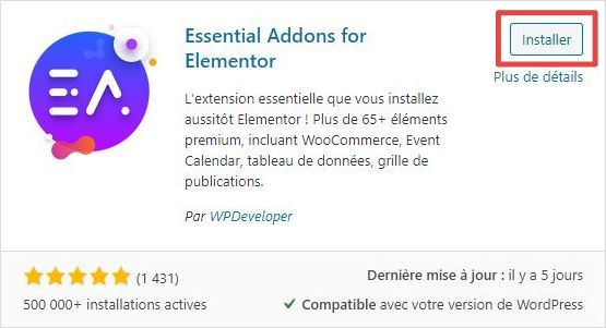 Page d'ajout d'extensions WordPress - installation - étape 1