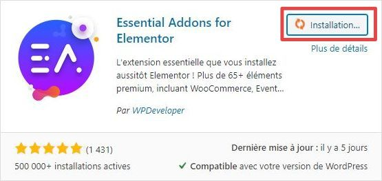 Page d'ajout d'extensions WordPress - installation - étape 2