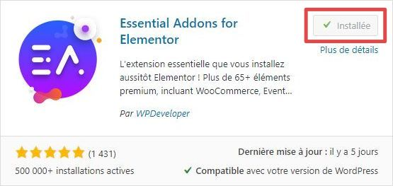 Page d'ajout d'extensions WordPress - installation - étape 3