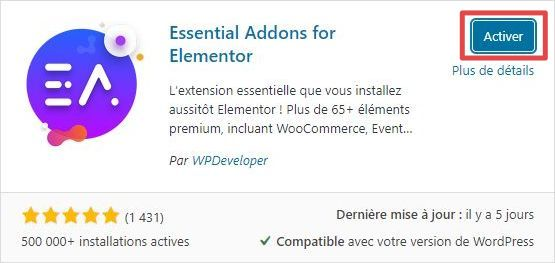 Page d'ajout d'extensions WordPress - installation - étape 4