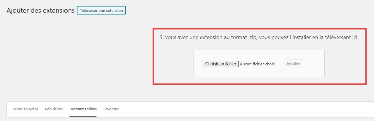Page d'ajout d'extensions - zone de téléversement