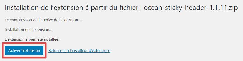 Page d'ajout d'extensions - fin d'installation par téléversement
