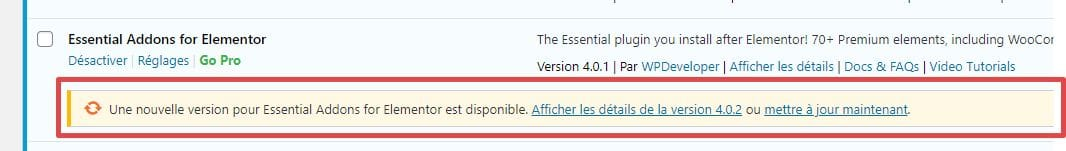 Extension WordPress à mettre à jour